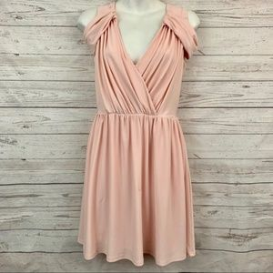 ASOS blush pink draped cutout shoulder dress cute